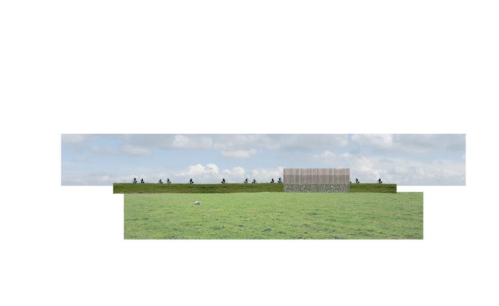 Horizontaliteit van het hollandsche landschap aan de dijkzijde